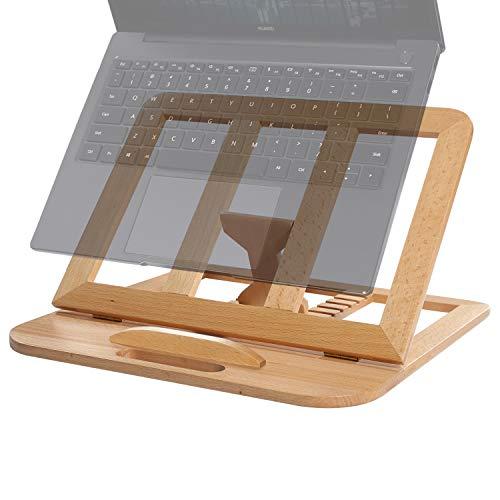 RAVEGO Laptop Ständer, Verstellbarer Hölzerner Tablet Ständer, Belüfteter Computer MacBook Ständer für Schreibtisch, Tragbarer Notebook Laptop Halter für Laptops 10-15.6 Zoll (Buche)