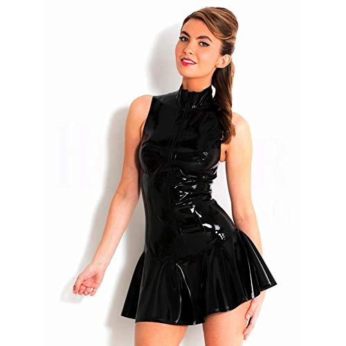 Bodysuit Elegant Lakleer met lange mouwen Wikkelbody met ritssluiting Skinny Cocktail Party Club Jumpsuit Playsuit Nachtelijke kostuums in lakleren rokken
