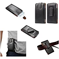 DFV mobile - Magnetic Genuine Leather Holster Executive Case Belt Clip Rotary 360º for WOXTER ZIELO Q30 - Black
