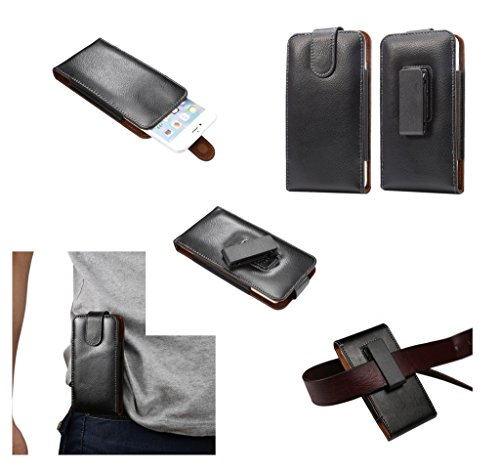 DFV mobile - Magnetic Genuine Leather Holster Executive Case Belt Clip Rotary 360º Compatibile con ZOPO C5 ZP520 - Black