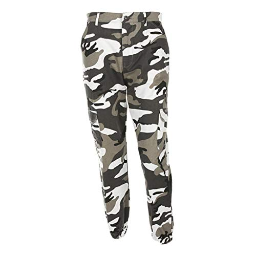ORANDESIGNE Damen Camouflage Hose Mädchen Hip Hop Jogger Trainingshose Casual Sport Camo Cargo Hosen Grau EU X-Small