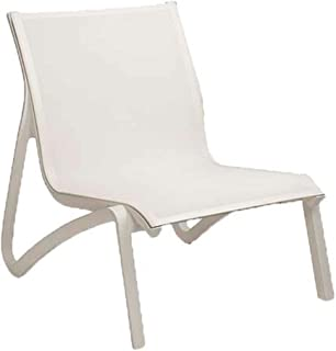 Grosfillex US001096 Sunset Lounge Chair, Without Arms, White/Glacier White (Case of 4)