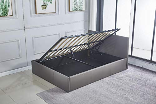 KOSY KOALA Ottoman Storage Bed Side Lift Opening Grey leather 3ft single bed (Grey, 3FT SINGLE)