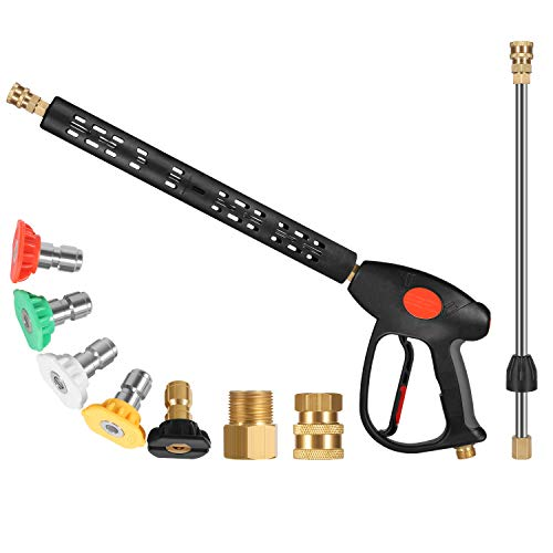 BCBUSY Replacement Pressure Washer Gun, Power Washer Gun with Extension Wand, 5 Nozzle Tips, M22 15mm or M22 14mm Fitting, 40 Inch, 4000 PSI
