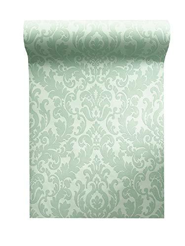 Vlies Tapete Barock Muster Ornament Glitzer effekt mint grün Damask 64797