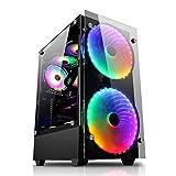 WERTYU Caja De La Computadora Caja de PC Gaming, Ventiladores Incluidos, Panel Cristal Templado