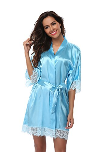 Women's Satin Short Kimono Robe with Lace Trim Bridal Party Robe Silky Dressing Gown Lightweight Soft Sleepwear Blue L