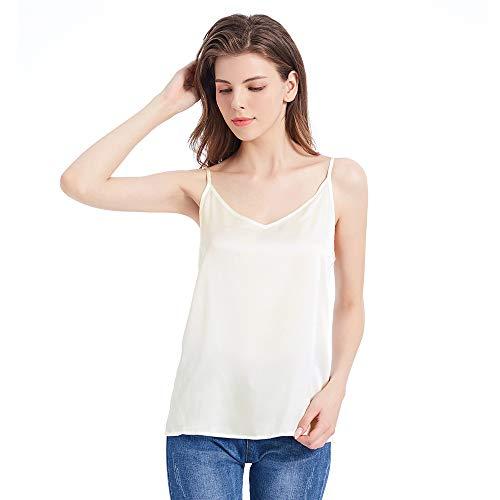 Mommesilk Seidentop Cami Vest Träger Top Unterhemd Damentop Spaghettihemd Damen 16 Momme (M, Elfenbein) Verpackung MEHRWEG