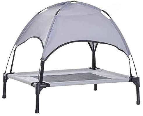 Raised Dog Bed,with Removable Canopy Raised Pet Bed Tent,Dog Cot Bed With Shade Canopy,Raised Pet Camping Basket, Lightweight