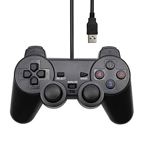 KAR PC Mando de Juegos de Ordenador USB Gamepad con Cable USB con Cable de Interfaz PC del Controlador USB de la vibración Joystick Gamepad para PC Juegos