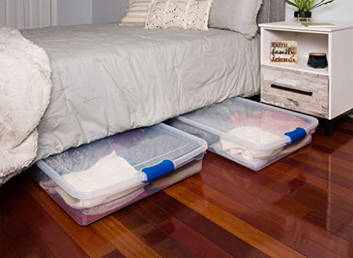 HOMZ 3470CLRDC.02 Plastic Underbed Storage, Stackable Storage Bins with Blue Latching Handles, 60 Quart, Clear, 2-Pack