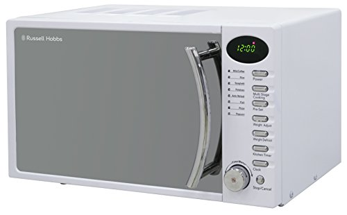 Russell Hobbs RHM1714WC 17 L 700 W White Digital Solo Microwave with 5 Power Levels, Digital Clock and Timer, 8 Auto Cook Menus, Automatic Defrost, Easy Clean