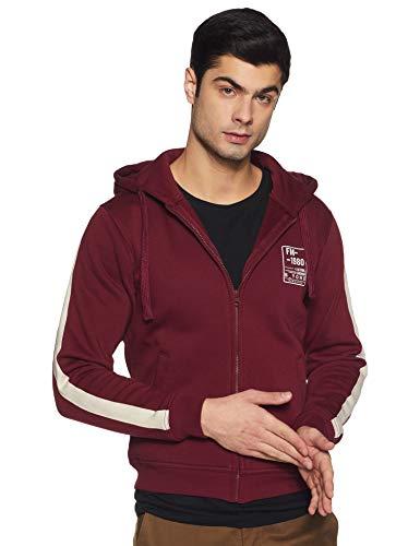 Flying Machine Men's Cotton Sweatshirt (FMSSFL0040_Maroon_M)