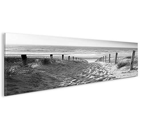 islandburner Imagen sobre lienzo de camino al mar en blanco y negro panorámico XXL póster mural decorativo de la marca islandburner