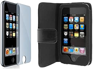 Premium Black horizontal Wallet Folio Leather Case + Screen Protector for Apple Ipod Touch Itouch 8Gb 16GB 32Gb 2G 3G 2nd 3rd Generation