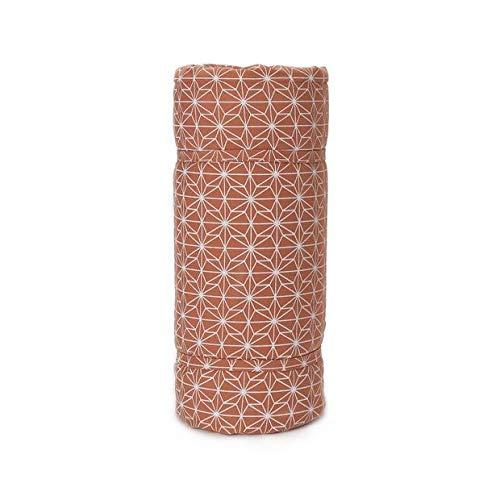 URBANARA Picknickdecke Ankisa– 100% Reine Baumwolle Wasserabweisende Unterseite und Tragetasche (130cm x 190cm, Terrakotta/Salbeigrün/Naturweiß)