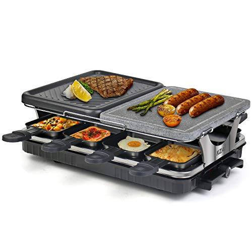 Raclette 8 Personen Raclette Grill Steinplatte Raklettgerät Aluminiumplatte 2 In 1 mit 8 Raclette-Pfännen Einstellbarer Thermostat Antihaft-Beschichtung, 1300W