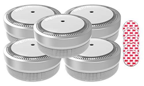 Jeising Aktions-Mini Rauchmelder RWM100-Silber 5er Set mit Klebepad 3M Premium selbstklebend - 10 Jahres Batterie - VDs
