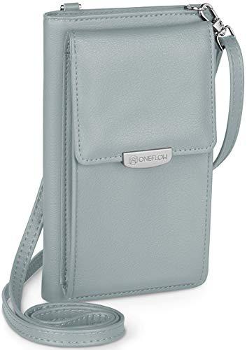 ONEFLOW Bolso bandolera para mujer pequeño compatible con todos los teléfonos Homtom, funda para el hombro con cartera, piel vegana, color azul cielo