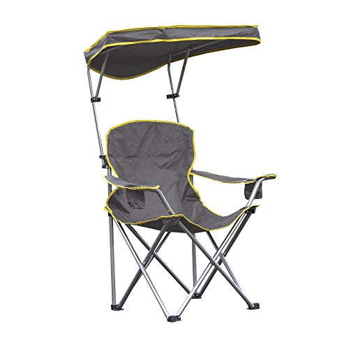 Quik Shade Heavy Duty Max Shade Extra Wide Folding Camp Chair with Tilt UV Sun Protection Canopy – Grey