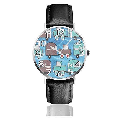 Camping Trailer Oldtimer Uhren Langlebige Pu Leder Armbanduhr Life Silence Quartz Watch