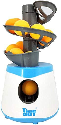 AmandaJ Tischtennis Ball Maschine, Ping Pong Ball Automatisch Werfer Tischtennis Ball Pitching Maschinen mit 10 Bälle Sports Turnschuhe Zubehör - Blau und Weiß