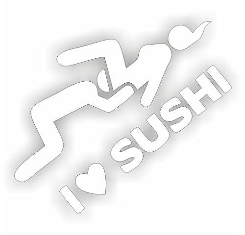 I love Sushi Shocker Hand Auto Aufkleber JDM Tuning OEM DUB Decal Stickerbomb Bombing fun w (Schwarz) (Weiß) (Weiß)