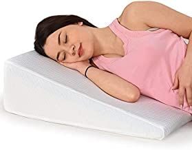 HEALTHEX Bed Wedge Pillow - Memory Foam Top – Elevated Support Cushion for Lower Back Pain, Acid Reflux, Heartburn, Allergies, Snoring – Ultra Soft Removable Cover – 8 inch Wedge