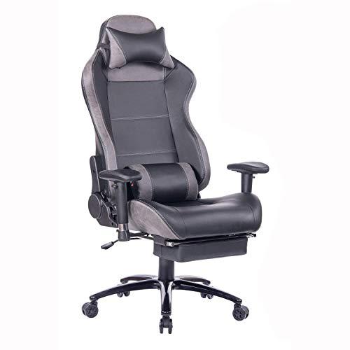 Wolmics Massage Gaming Stuhl mit Fußstütze Matel Base-Memory Foam Verstellbare Rückenlehne Liegender PC Computer Video Gamer Stuhl Racing Game Stühle PU Leder Schreibtisch Bürostuhl (8263Grey)