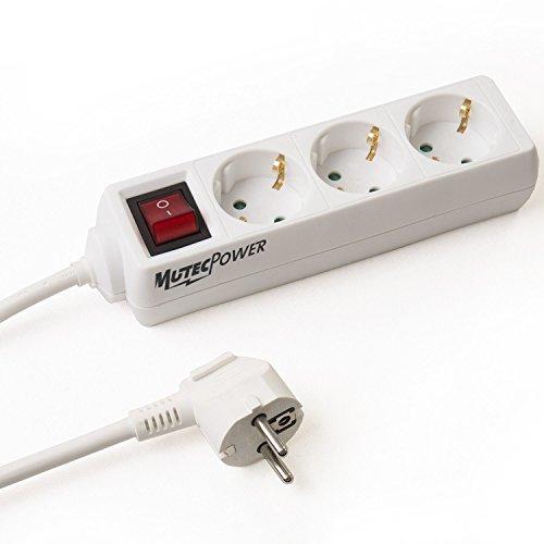 MutecPower Cable alargador CA de 25 Metros con 3 Tomas de Corriente...