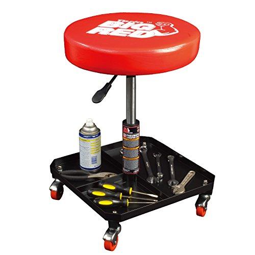 Torin Big Red Rolling Pneumatic Creeper Garage/Shop Seat: Padded Adjustable Mechanic Stool, Red