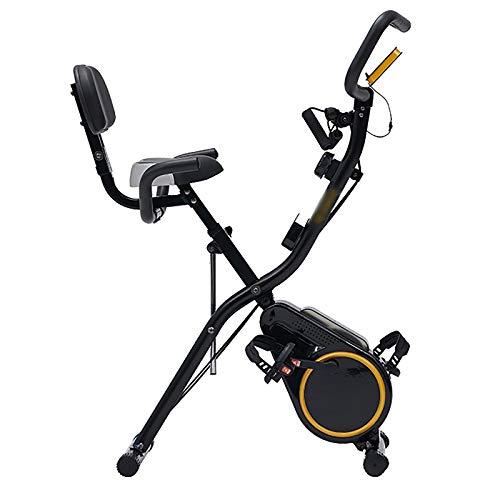 Bicicleta Estática Plegable con Respaldo, Bicicleta Fitness Pantalla LCD 12 Niveles de Resistencia, Bicicleta de Ejercicios Aeróbicos Gimnasio Casa para Adultos de Ciclo