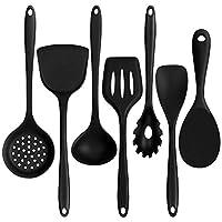 set di utensili da cucina in silicone, cestmall set di utensili da cucina 7 pezzi include mestolo per zuppa, cucchiaio per riso, schiumarola, pasta per servire paletta con intaglio spatola e cucchiaio