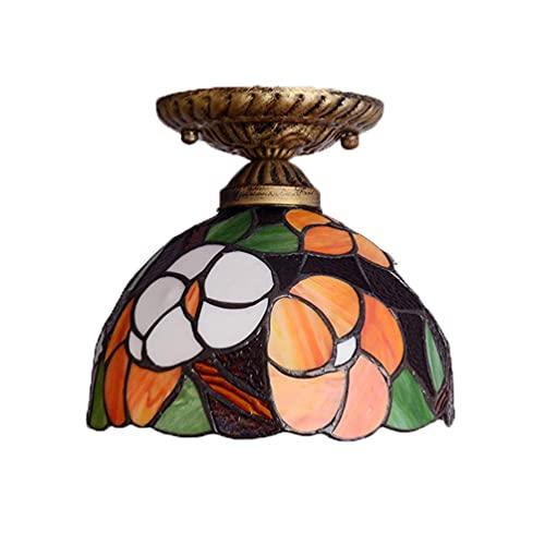 DALUXE Tiffany Pink Techo Lámpara, lámpara de Techo Pasillo con Flores de Vidrio de Pantalla, E27 Retro Lámpara de Techo para Cocina Sala de Estar Dormitorio Baño Balcón