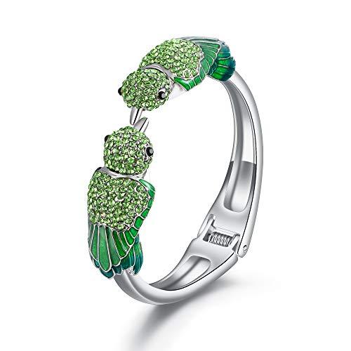 EVER FAITH Armreif Österreichische Kristall Emaille Zwei entzückende Spatzenvogel Tier Armband in Grün Silber-Ton