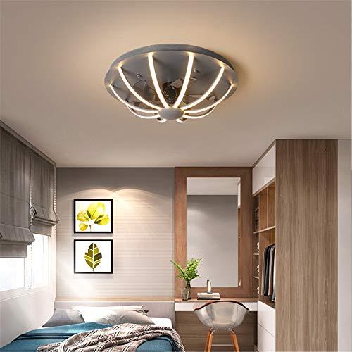 Ventilador De Luz De Techo Con Control Remoto, Comedor Moderno Ventilador De Techo Con Iluminación, Regulable Tiempo Silencioso Salón Dormitorio Lámpara De Ventilador,Gris