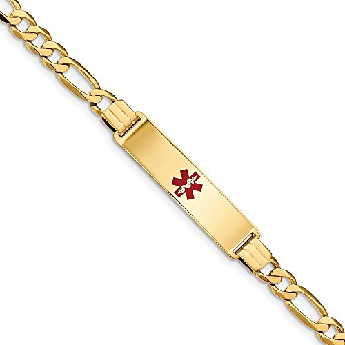 14k Yellow Gold Medical Alert Red Enamel Flat Figaro Link Id Bracelet 7...