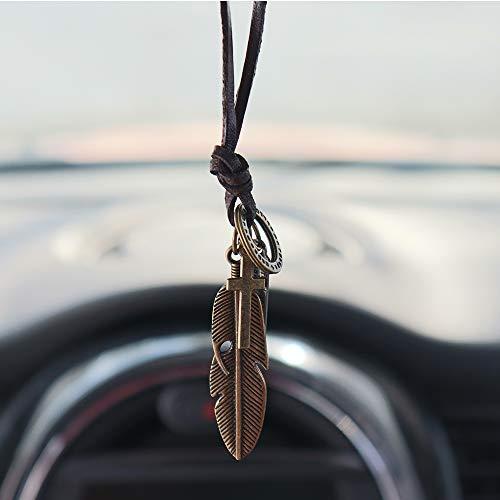Preisvergleich Produktbild Inebiz Rückspiegelanhänger,  Retro legierte Feder mit gewebtem Rindsleder,  Autoanhänger,  Dekoration zum Aufhängen,  Fashion-Kette,  bronze