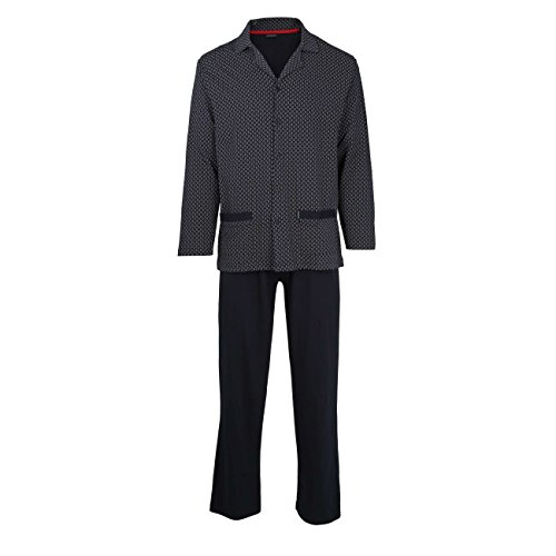 Götzburg Herren Pyjama, Langarm, Baumwolle, Single Jersey, Navy, Bedruckt 48