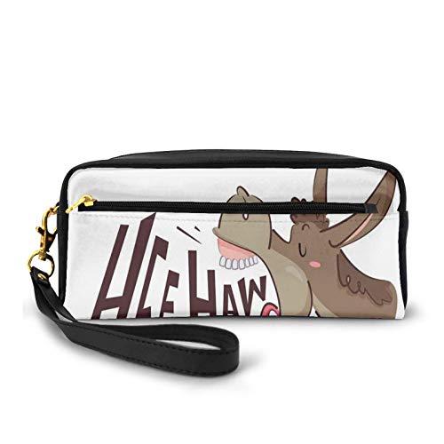 Kleine Make-up-Taschen, Geldbörse, Cartoon-Motiv Flechter Esel mit HEE Haw-Text, lustiges Tierportrait, PU-Leder, Reißverschluss, Reise-Kosmetiktasche und Stifteorganizer