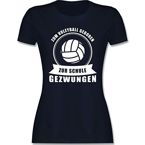 Volleyball - Zum Volleyball geboren. Zur Schule gezwungen - M - Navy Blau - Volleyball Tshirt - L191 - Tailliertes Tshirt für Damen und Frauen T-Shirt