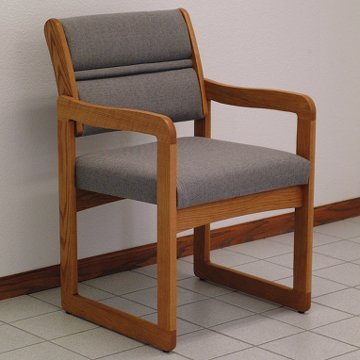 DMD Lobby Seat, Office and Waiting Room Guest Chair, Medium Oak Wood with Charcoal Grey Fabric