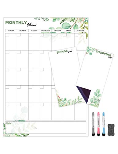 Monthly Magnetic Calendar for Refrigerator (Leaf) | Set of 3 Vertical Magnetic Dry Erase Board: Magnetic Fridge Planner 12 x 17 Inch, Shopping List & to Do List 4 x 8 Inch | 3 Markers & 1x Eraser
