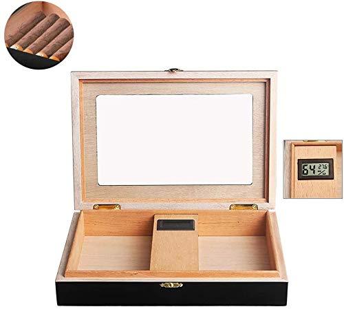 葉巻ヒュミドール、LCDディスプレイ湿度計および加湿器が付いているガラス上のハンドメイドの木製のシガーボックスのデスクトップのヒュミドールは20-25葉巻までを握ります