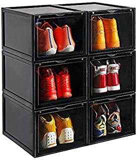 AOTENG STAR Storage Shoes Box Womens Mens Shoe Storage Box Sneakerhead Gifts Plastic Foldable Stackable Shoe Container Clear Closet Shelf Shoe Organizer-3 Pack(Black)