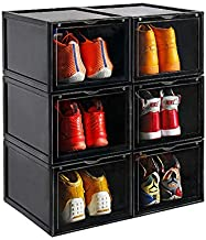 AOTENG STAR Storage Shoes Box Womens Mens Shoe Storage Display Box Plastic Foldable Stackable Shoe Container Clear Closet Shelf Shoe Organizer-3 Pack