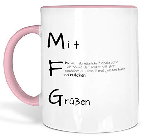 True Statements Liebes-Tasse MFG Fick Dich Du Hässliche Schabracke - schöne Tasse als Geschenk - Geburtstag, Weihnachten, Valentinstag, innen rosa