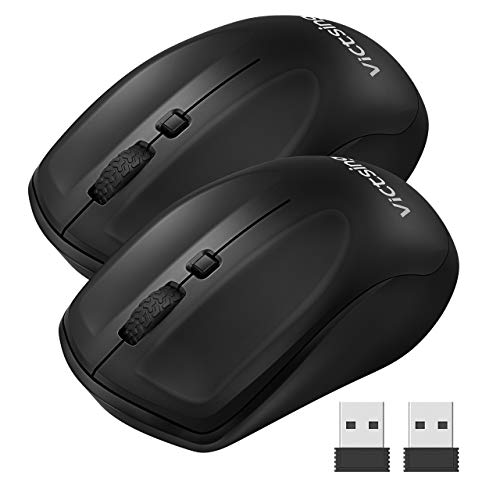 VicTsing Wireless Mouse for Laptop, Portable Ergonomic Mouse-Match Your Hand Better, 3 Adjustable DPI Levels, Power On-Off Switch, Up to 18 Months Battery Life, USB Computer Mouse for both Hand-2 Pack