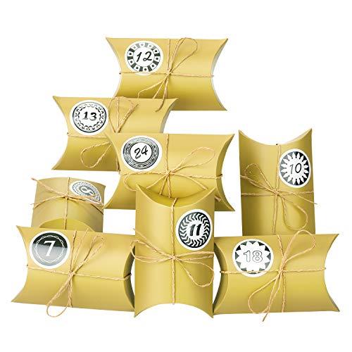 EKKONG Adventskalender zum Befüllen, 24 Adventskalender Kraftpapier Tüten mit 24 Zahlenaufklebern - für Weihnachten zum Basteln und Verzieren, Vintage-Stil Weihnachtskalender Bastelset (Gold)