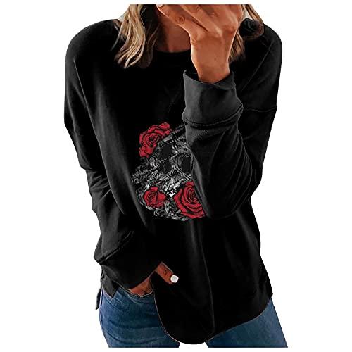 VICIKON Damen Halloween-Sweatshirt mit Totenkopf-Aufdruck,Frauen Beiläufig Langarmshirt,Halloween Damen Langarmshirt,Vintage Damen Pullover Langarm,Mode lose beiläufige Sweatshirt Pullover Tops Damen